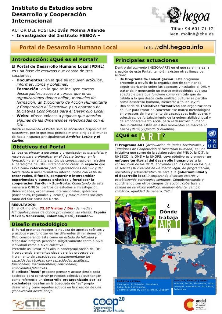 Instituto de Estudios sobre Desarrollo y Cooperación Internacional AUTOR DEL POSTER: Iván Molina Allende                  ...