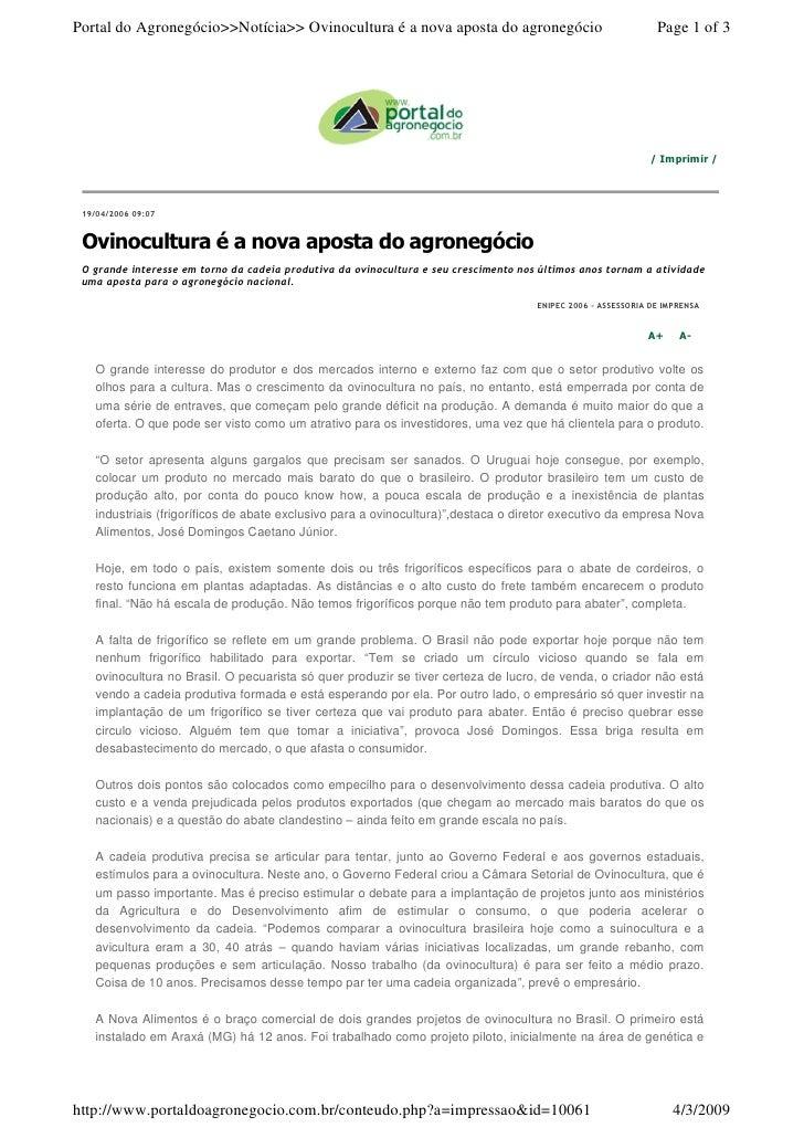Portal do Agronegócio>>Notícia>> Ovinocultura é a nova aposta do agronegócio                            Page 1 of 3       ...