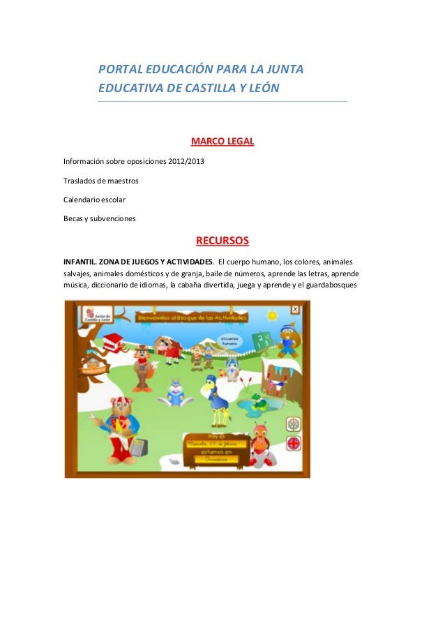 PORTAL EDUCACIÓN PARA LA JUNTAEDUCATIVA DE CASTILLA Y LEÓNMARCO LEGALInformación sobre oposiciones 2012/2013Traslados de m...