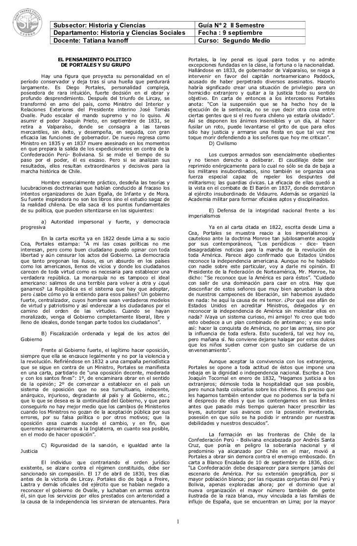Subsector: Historia y Ciencias                              Guía Nº 2 II Semestre               Departamento: Historia y C...