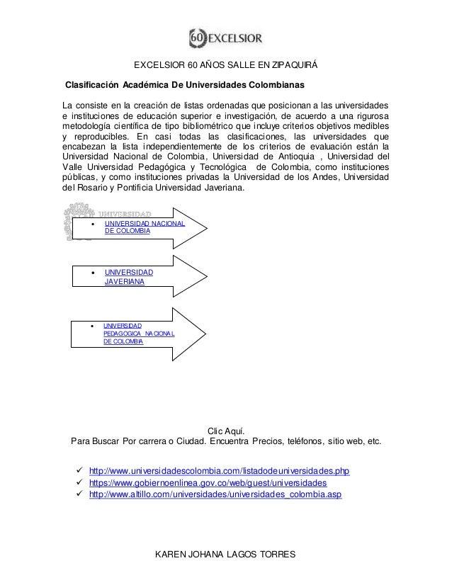 EXCELSIOR 60 AÑOS SALLE EN ZIPAQUIRÁ  Clasificación Académica De Universidades Colombianas  La consiste en la creación de ...