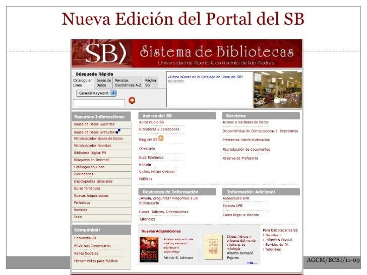 Nueva Edición del Portal del SB AGCM/BCBI/11-09