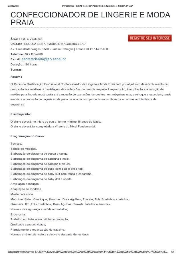 27/08/2015  CONFECCIONADOR DE LINGERIE E MODA PRAIA  Portalsenai — CONFECCIONADOR DE LINGERIE E MODA PRAIA  ~. :.,  nil?  ...