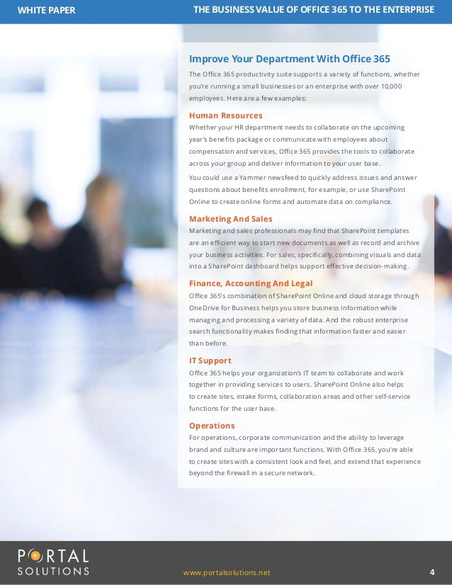 White Paper The Business Value Of Office 365 To The Enterprise