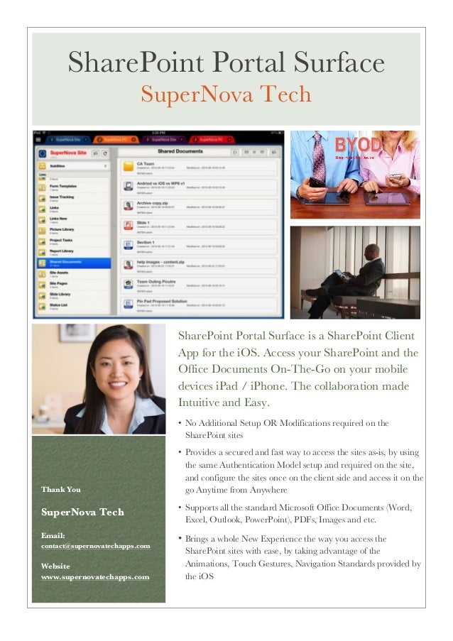 SharePoint Portal Surface is a SharePoint Client App for the iOS. Access your SharePoint and the Office Documents On-The-G...