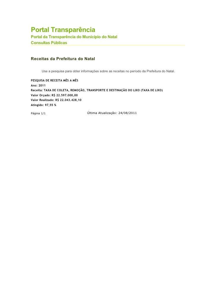 Portal TransparênciaPortal da Transparência do Município do NatalConsultas PúblicasReceitas da Prefeitura do Natal       U...