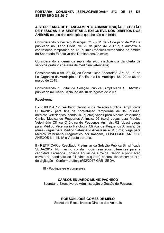 resultado de seleção da secretaria executiva dos direitos dos animais\u2026portaria conjunta seplagp seda nº 273 de 13 de setembro de 2017 a secretaria