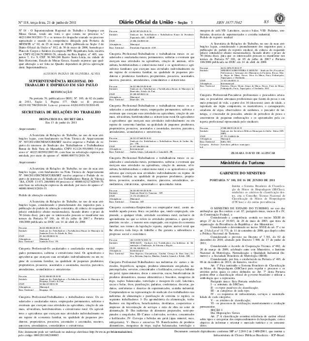 Nº 118, terça-feira, 21 de junho de 2011 83ISSN 1677-7042Este documento pode ser verificado no endereço eletrônico http://...