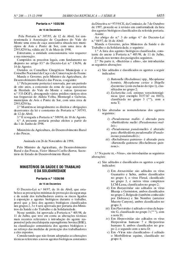 N.o 288 — 15-12-1998  DIÁRIO DA REPÚBLICA — I SÉRIE-B  Portaria n.o 1035/98 de 15 de Dezembro  Pela Portaria n.o 307/95, d...