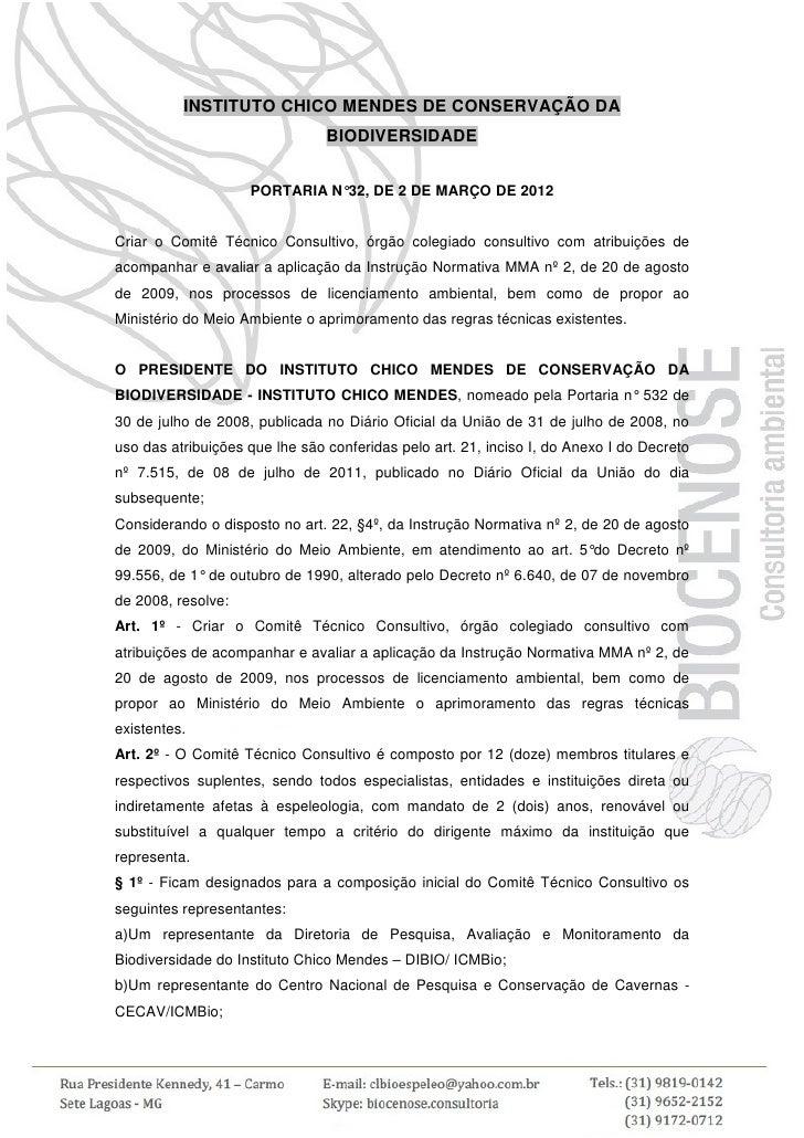 INSTITUTO CHICO MENDES DE CONSERVAÇÃO DA                                BIODIVERSIDADE                    PORTARIA N° DE 2...