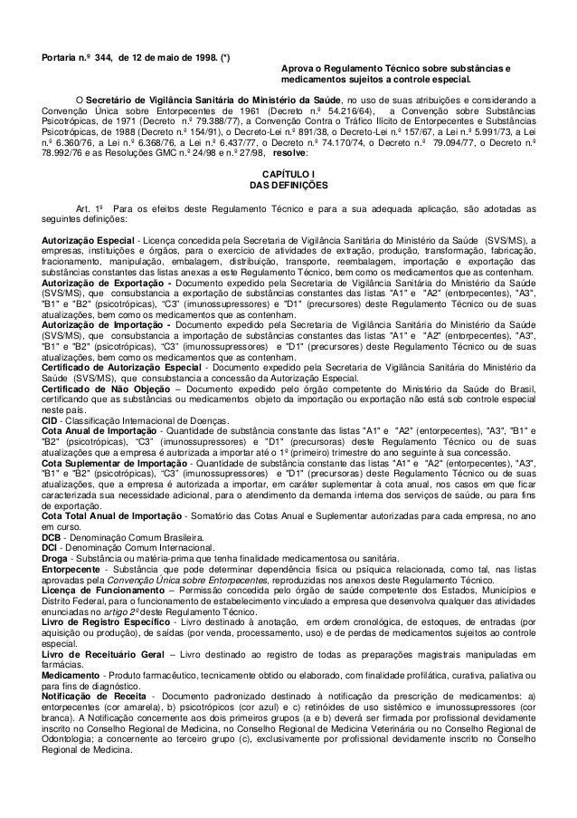 Portaria n.º 344, de 12 de maio de 1998. (*) Aprova o Regulamento Técnico sobre substâncias e medicamentos sujeitos a cont...