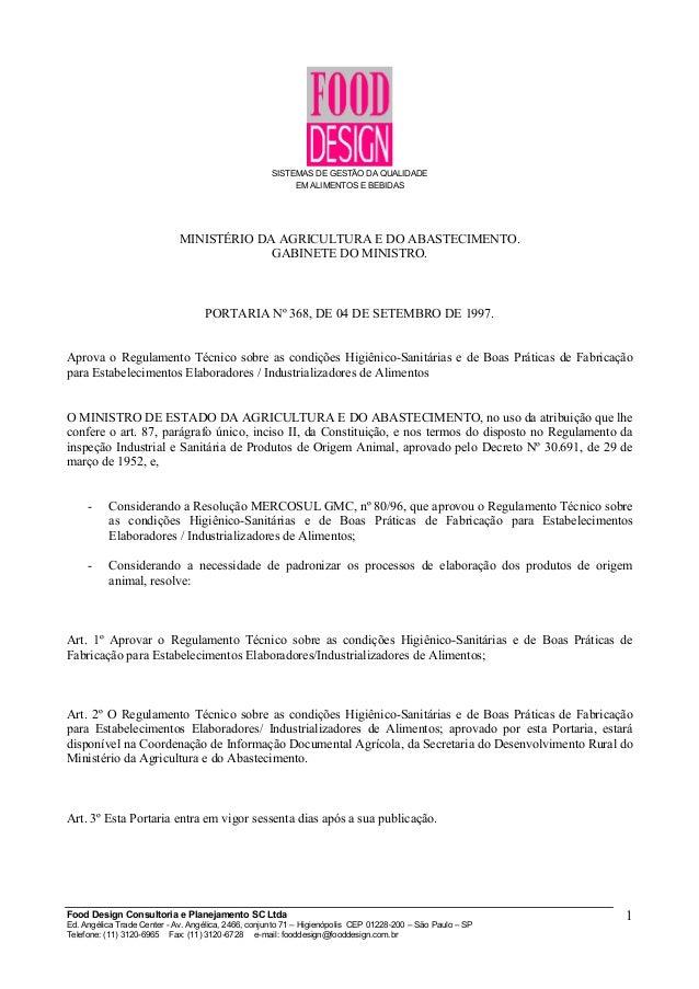 SISTEMAS DE GESTÃO DA QUALIDADE EM ALIMENTOS E BEBIDAS MINISTÉRIO DA AGRICULTURA E DO ABASTECIMENTO. GABINETE DO MINISTRO....