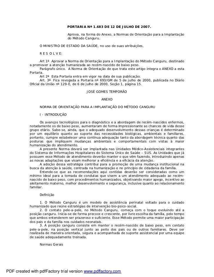 PORTARIA Nº 1.683 DE 12 DE JULHO DE 2007.                                   Aprova, na forma do Anexo, a Normas de Orienta...