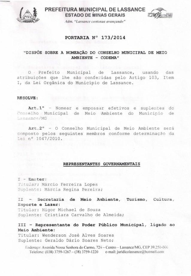 """PREFEITURA MUNICIPAL DE LASSANCE ESTADO DE MINAS GERAIS Adm. """"Lassance conttnua avançando"""" PORTARIA N° 173/2014 """"DISPOE SO..."""