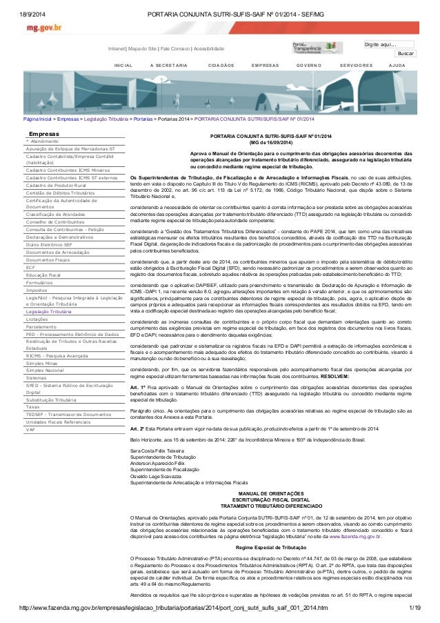 18/9/2014 PORTARIA CONJUNTA SUTRI-SUFIS-SAIF Nº 01/2014 - SEF/MG  Intranet | Mapa do Site | Fale Conosco | Acessibilidade ...