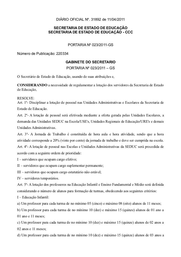 DIÁRIO OFICIAL Nº. 31892 de 11/04/2011                        SECRETARIA DE ESTADO DE EDUCAÇÃO                      SECRET...