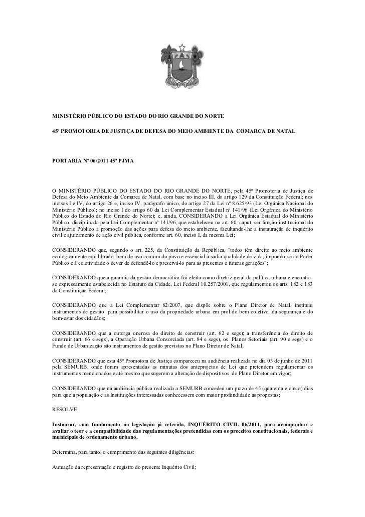 MINISTÉRIO PÚBLICO DO ESTADO DO RIO GRANDE DO NORTE45ª PROMOTORIA DE JUSTIÇA DE DEFESA DO MEIO AMBIENTE DA COMARCA DE NATA...