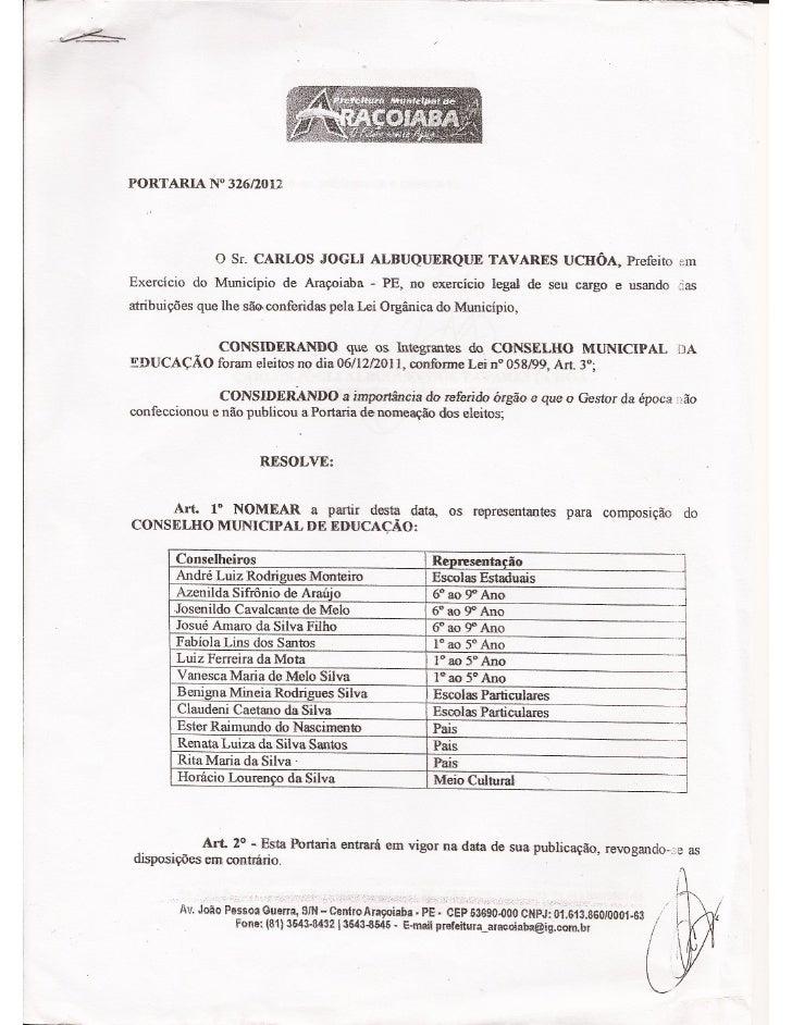 Portaria nº 326/2012 nomeação dos conselheiros do CME Araçoiaba PE-BRA