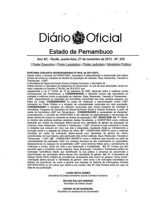 (P.   Diário Oficial  Estado de Pernambuco     Ano XC - Recife,  quarta-feira,  27 de novembro de 2013 - N°.  225  [ Poder...