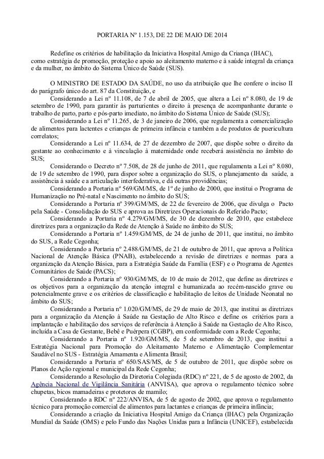 PORTARIA Nº 1.153, DE 22 DE MAIO DE 2014 Redefine os critérios de habilitação da Iniciativa Hospital Amigo da Criança (IHA...