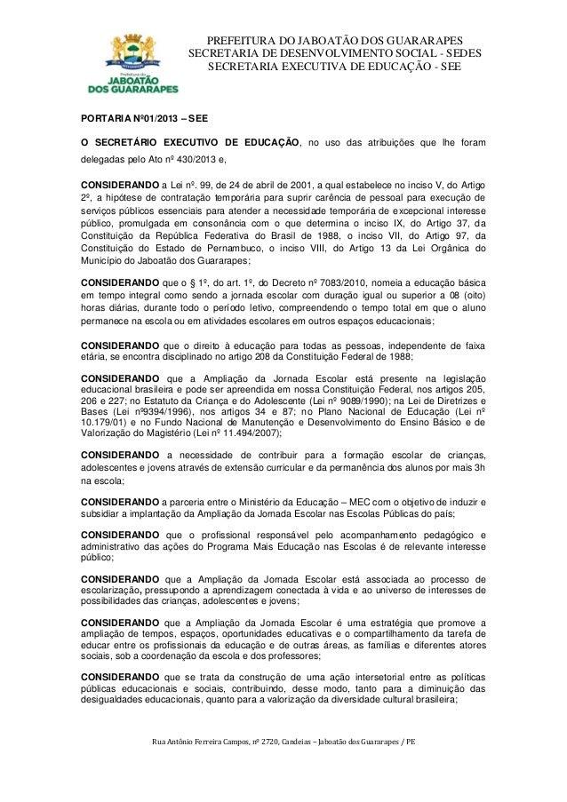 PREFEITURA DO JABOATÃO DOS GUARARAPES                          SECRETARIA DE DESENVOLVIMENTO SOCIAL - SEDES               ...
