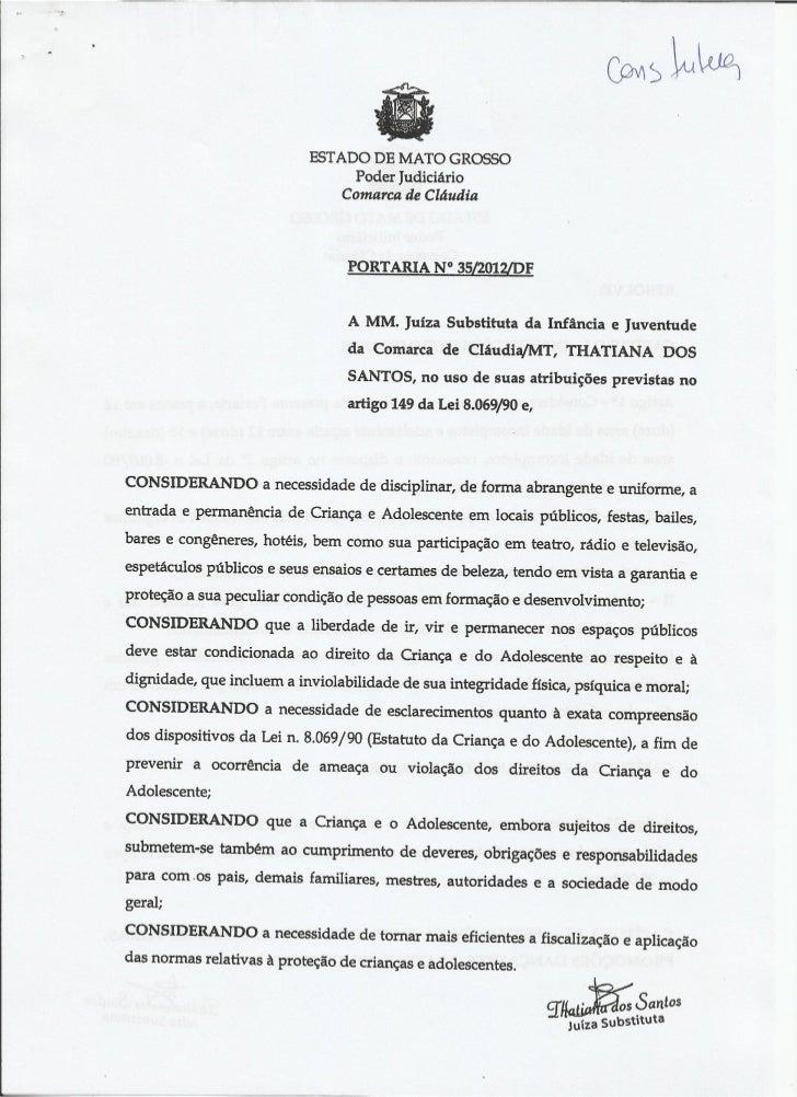 Portaria Fórum da Comarca de Cláudia/MT 2012