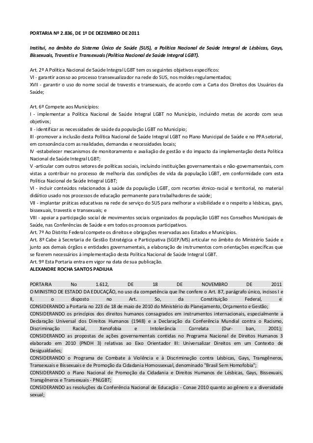 PORTARIA Nº 2.836, DE 1º DE DEZEMBRO DE 2011Institui, no âmbito do Sistema Único de Saúde (SUS), a Política Nacional de Sa...