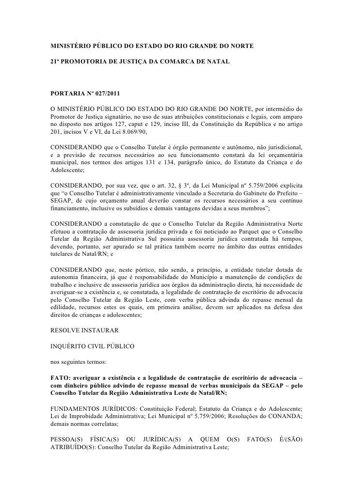 Portarias ... contratação de assessoria juridica privada pelos conselhos tutelares natal