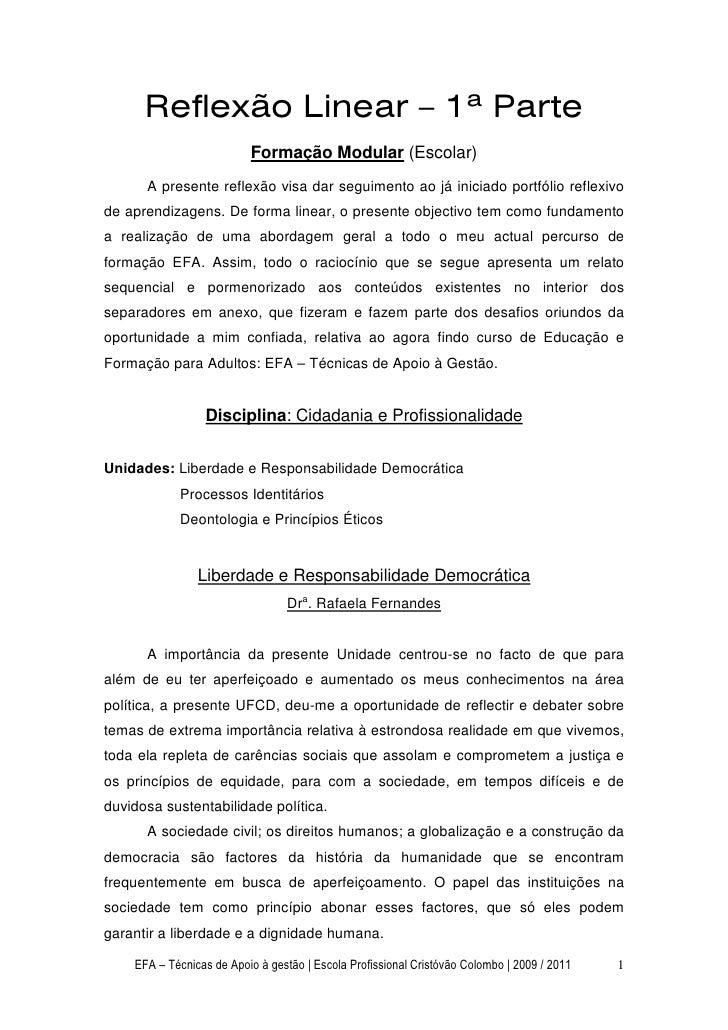 Reflexão Linear – 1ª Parte                          Formação Modular (Escolar)      A presente reflexão visa dar seguiment...