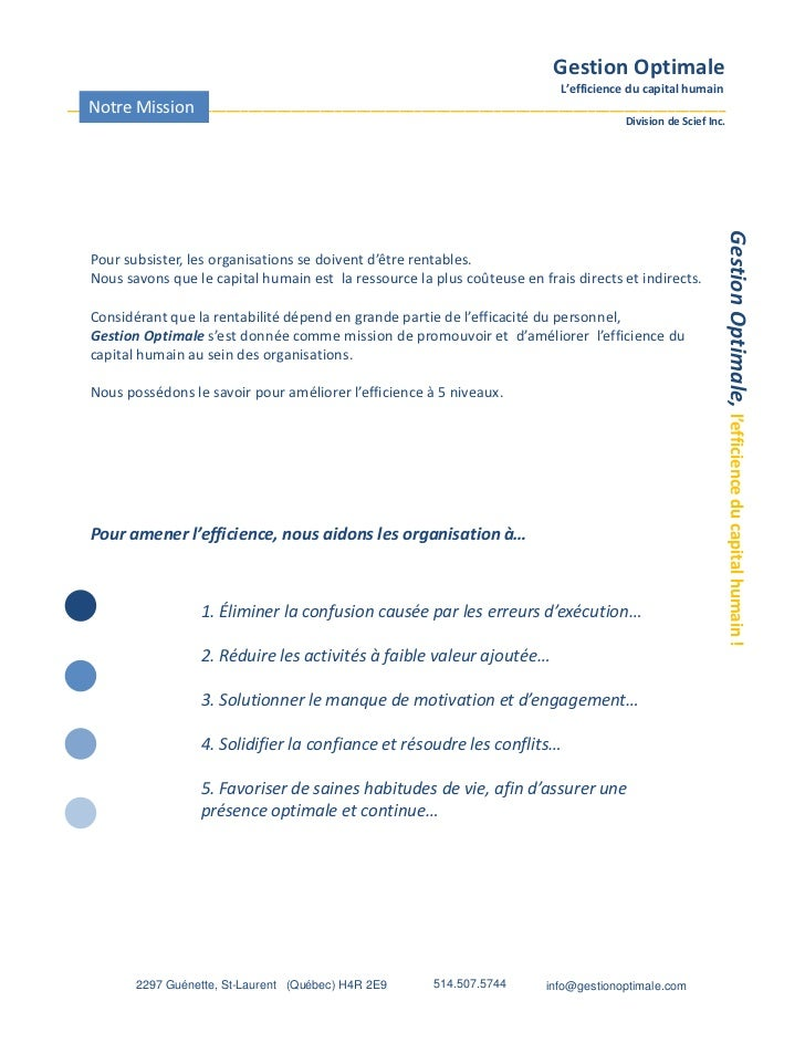 Gestion Optimale                                                                              L'efficience du capital huma...