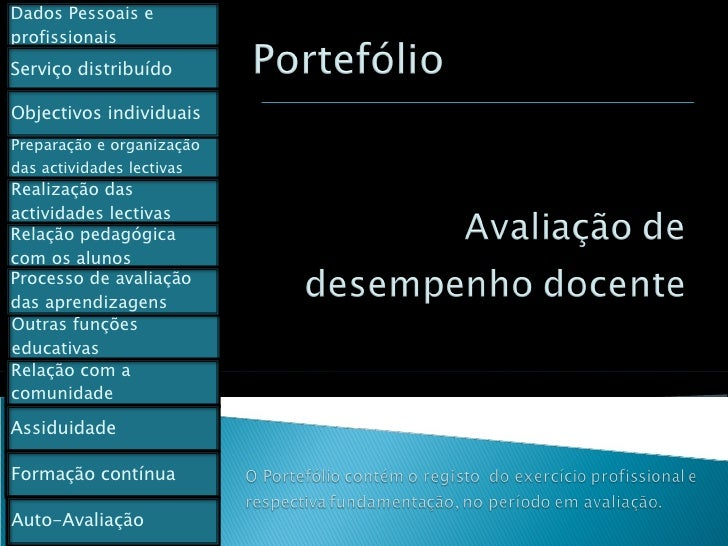 Dados Pessoais e profissionais Preparação e organização das actividades lectivas Outras funções educativas Relação com a c...