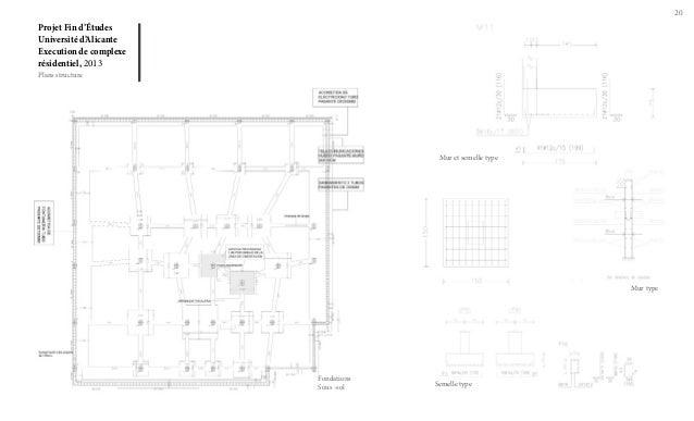 20  Projet Fin d'Études Université d'Alicante Execution de complexe résidentiel, 2013 Plans structure  Mur et semelle type...