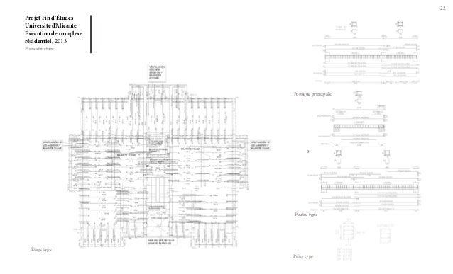 22  Projet Fin d'Études Université d'Alicante Execution de complexe résidentiel, 2013 Plans structure  Portique principale...