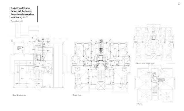 23  Projet Fin d'Études Université d'Alicante Execution de complexe résidentiel, 2013 Plans électricité  Illumination étag...