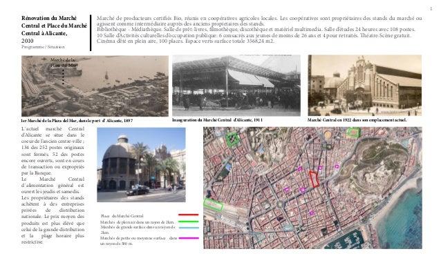 1  Rénovation du Marché Central et Place du Marché Central à Alicante, 2010 Programme / Situation  Marché de producteurs c...