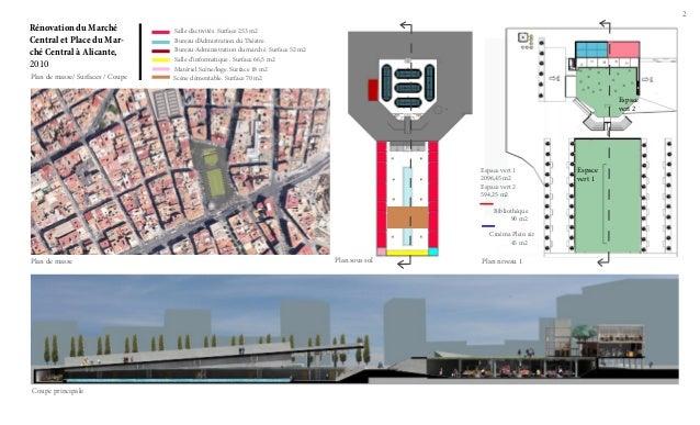 2  Rénovation du Marché Central et Place du Marché Central à Alicante, 2010 Plan de masse/ Surfaces / Coupe  Salle d'activ...