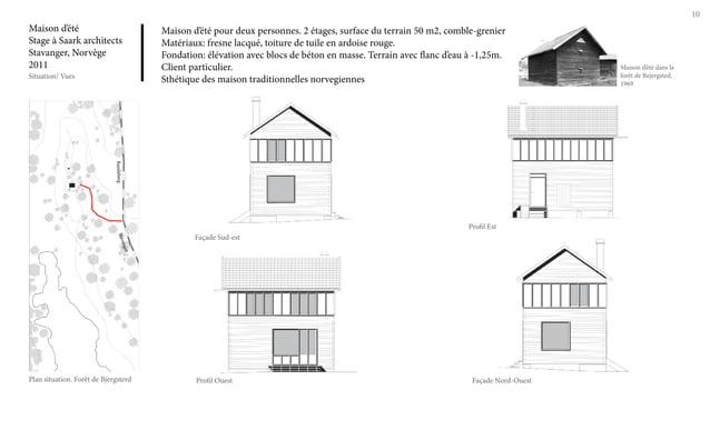 10 Maison d'été Stage à Saark architects Stavanger, Norvège 2011 Situation/ Vues Maison d'été pour deux personnes. 2 étage...