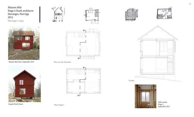 11 Maison d'été Stage à Saark architects Stavanger, Norvège 2011 Plan étages / coupe Maison d'éte finie. Septembre 2011 Fa...