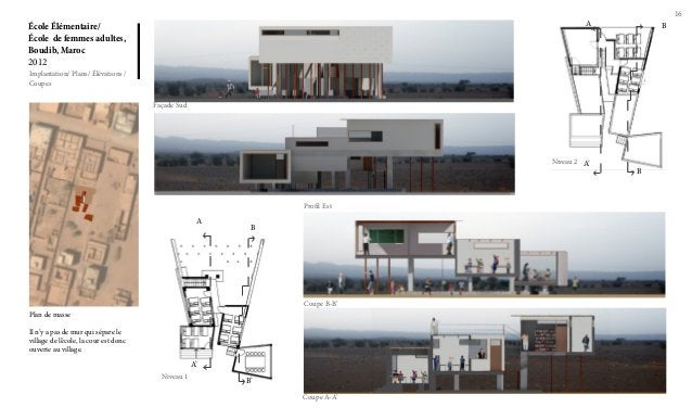 16 École Élémentaire/ École de femmes adultes, Boudib, Maroc 2012 Implantation/ Plans/ Élévations / Coupes Façade Sud Prof...