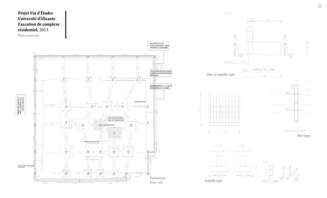 Projet Fin d'Études Université d'Alicante Execution de complexe résidentiel, 2013 22 Plans structure Fondations Sous -sol ...