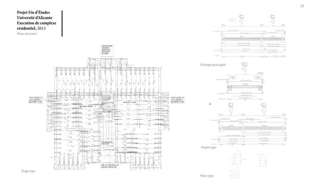 Projet Fin d'Études Université d'Alicante Execution de complexe résidentiel, 2013 24 Plans structure Étage type Portique p...