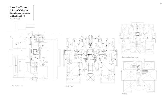 Projet Fin d'Études Université d'Alicante Execution de complexe résidentiel, 2013 25 Plans électricité Rez-de-chaussée Éta...