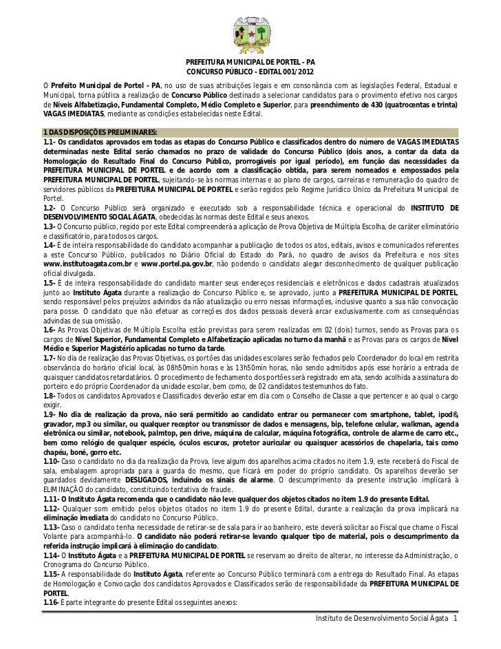 PREFEITURA MUNICIPAL DE PORTEL - PA                                              CONCURSO PÚBLICO - EDITAL 001/2012O Prefe...