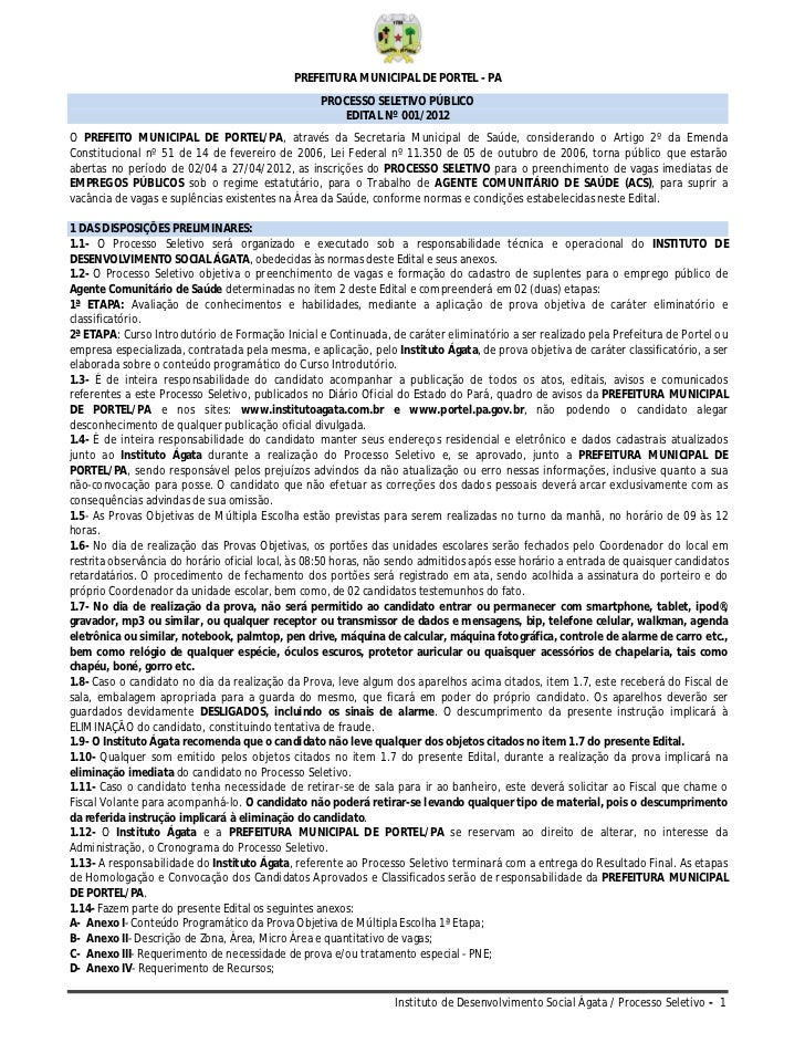 PREFEITURA MUNICIPAL DE PORTEL - PA                                                   PROCESSO SELETIVO PÚBLICO           ...
