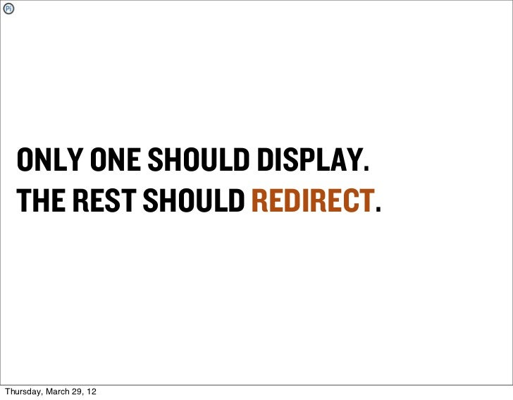 ONLY ONE SHOULD DISPLAY.  THE REST SHOULD REDIRECT.Thursday, March 29, 12