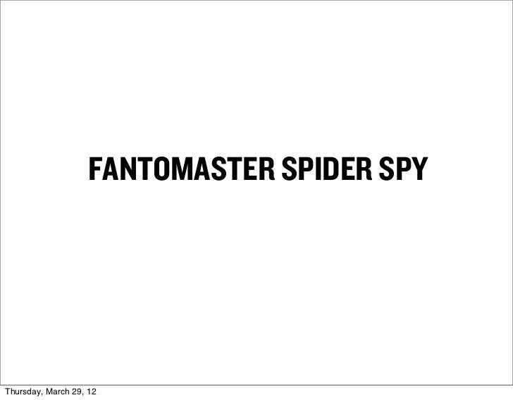 FANTOMASTER SPIDER SPYThursday, March 29, 12