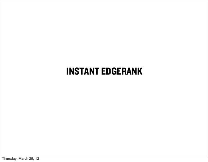 INSTANT EDGERANKThursday, March 29, 12