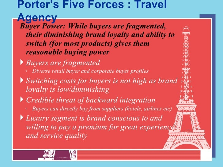 porters 5 forces in irish tourism industry This paper takes a new look at porter's five competitive forces model in doing so, this work proposes a new competitive forces model centered on the travel and tourism industry that includes two additional forces, namely information technologies and government regulations, and adds an additional element to the buyers' perspective, namely.