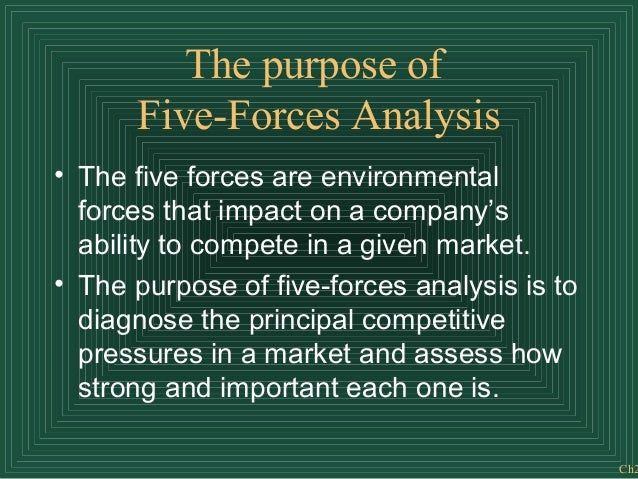 Ch2 The purpose of Five-Forces Analysis • The five forces are environmental forces that impact on a company's ability to c...