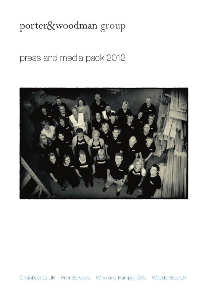 porter&woodman grouppress and media pack 2012Chalkboards UK   Print Services   Wine and Hamper Gifts   WoodenBox UK